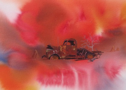 """""""Hot Stuff"""" - an abandoned truck on Spring Valley Station."""